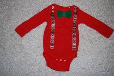 Suspender and bowtie applique onesie fits 6 by WinklesWhimsies
