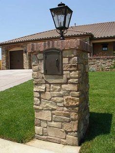 general idea... brick mailbox post with light fixture
