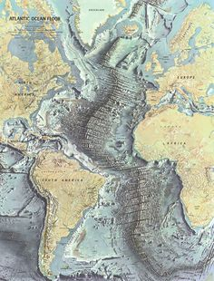Based on the work of geophysicists Bruce Heezen and Marie Tharp, this 1968 map of the ocean floor helped bring the concept of plate tectonics to a wide audience. Tharp began plotting the depths in 1950 from soundings taken by ships in the Atlantic, but, as a woman, wasn't allowed on the ships herself. In 1978 she was awarded the Society's Hubbard Medal for her pioneering research.