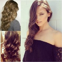 long sexy wavy hairstyle for 2014 with cheap and remy brown hair extension for short hair clip in