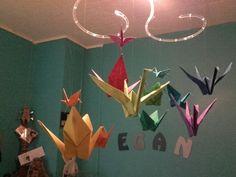 Origami grue arc en ciel mobile chambre DIY
