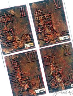 "Mixed media ATC set ""Rusty time""... Hello again! Today I would like to inspire you my two latest mixed media ATC sets in rusty look, made for ScrapArt.cz ... ..."