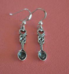 925-Sterling-Silver-Celtic-Welsh-Love-Spoon-Knot-Dangle-Earrings-Jewelry