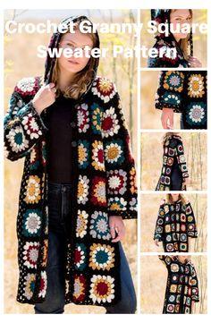Crochet Jacket Pattern, Gilet Crochet, Crochet Coat, Crochet Cardigan Pattern, Granny Square Crochet Pattern, Crochet Clothes, Crochet Patterns, Easy Crochet, Ravelry Crochet