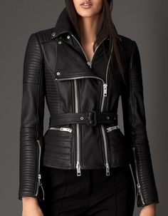 Burberry London Zip Detail Leather Biker Jacket in Black
