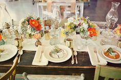 orange white succulent tablescape vintage desert