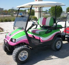 Custom Neighborhood Electric Vehicles (NEV)s, and American made golf cart solutions is our business. We offer a diverse selection of beach carts and utility vehicles for any application. Pink Love, Pretty In Pink, Pink And Green, Jeep Carros, Ogio Golf Bags, Fantasy Golf, Golf Betting, Electric Golf Cart, Custom Golf Carts
