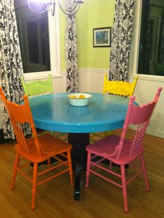This is unique. Do I have the courage to do it to my large table and chairs? Could mix and match chairs. - Painted dining table and chairs