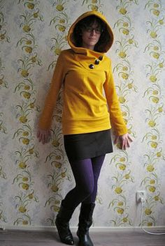 need to make this hoodie! (also, love the skirt and purple tights!)