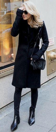 Black reiss coat, Black geometric leggings, Soho leather disco bag,jensen leather ankle boots   Krystal Schlegel #black