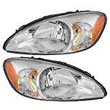 Pair Set Headlights Headlamps With Chrome Bezel Replacement For