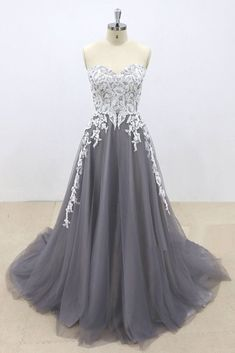 Dark Gray Tulle Ivory Lace Sweetheart Neckline A line Pageant Prom Dress, Evening Gown 15 Dresses, Pretty Dresses, Beautiful Dresses, Fashion Dresses, Bridesmaid Dresses, Dresses With Sleeves, Beautiful Evening Gowns, Amazing Dresses, Formal Dresses