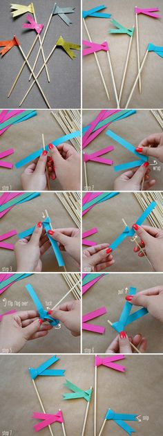 Use these for next bday party: Paper ribbon flags DIY Paper Ribbon, Diy Paper, Paper Crafts, Diy Ribbon, Origami Paper, Oragami, Blue Ribbon, Papier Diy, Mini Flags