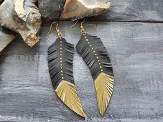 Leather feather earrings. Feather earrings. by VelmaJewelry