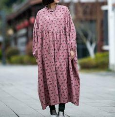 Women cotton Oversized Dresses, bat Sleeves Dress, boho long dress
