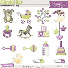 A Joyful Day Embellishment Mini - Baby Digital Scrapbooking Kit by Laura Louie | ScrapGirls.com