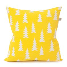 Gran cushion cover from Fine Little Day by Elisabeth Dunker Small Cushion Covers, Yellow Cushion Covers, Yellow Cushions, Funky Cushions, Yellow Pillow Cases, Black And White Tree, White Trees, Printed Cushions, Scandinavian Home