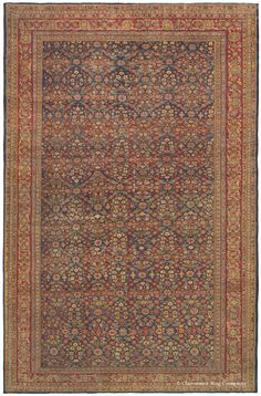 Sultanabad, 9ft 2in x 13ft 8in, Late 19th Century.  Extremely fine knotting infuses infinite subtlety of detail throughout this room-size antique Persian Sultanabad rug. Deftly controlled, intentional color striation adds even greater delicacy and nuance to the understated allover design, producing an antique Oriental art carpet that will indulge its viewer with continual rediscovery. Its colors, dyed naturally over 100 years ago, have taken on a prized patina.