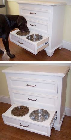 Dog food bowls - hideaway drawer