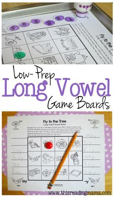 Long Vowel Game Boards for ai, ay, ee, ea, igh, oa, ow & ew patterns- Print and Play | This Reading Mama