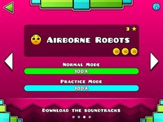 Geometry Dash MELTDOWN - Airborne Robots 100% - Level 3 - by RobTop (All 3 Coins) - YouTube
