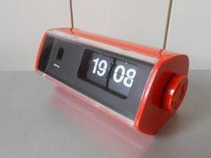 Vintage 1970s COPAL Flip Clock. Orange Plastic. Made in Japan. Working condition. Retro Mod Space Age. Bedroom Home Decor. Electronics