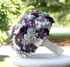 Purple Wedding Broach Bouquet. Deposit on made to by annasinclair.  I'm obsessed with this one - love the idea of being able to keep your wedding bouquet forever!