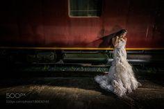 Bride at the train station by digitalartistphoto
