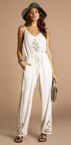 The perfect white lacey jumpsuit for spring