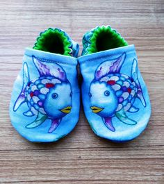 Baby shoesRainbow fish shoesRainbow fish fabricfish