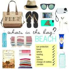"""""""What's in My Beach Bag"""" by janafran on Polyvore"""