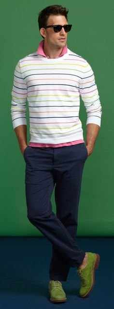 Brooks Brothers - Supima Rainbow Stripe Crewneck Sweater, pink Golden Fleece Slim Fit Novelty Performance Polo, navy Clark Garment-Dyed Twill Chinos, green classic buck suede lace ups, Ray-Ban® Wayfarer Sunglasses with Yellow BB Repp Stripe Sharp Dressed Man, Well Dressed Men, Brooks Brothers, Stylish Men, Men Casual, Preppy Style, My Style, Mens Fashion, Fashion Outfits