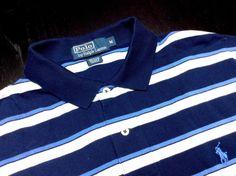RALPH LAUREN Men's M Navy Blue White Striped Short Sleeve Pique Polo Shirt~Pony #RalphLauren | Men's Fashion & Style | Shop Menswear, Men's Clothes, Men's Apparel & Accessories at designerclothingf... | Find Sport Coats, Blazers, Suits, Shirts, Polos, Pants/Trousers and More...