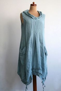 BOHEME BLUE LINEN BOHO HIPPIE DRESS GIPSY 1 S LONG TUNIC LAGENLOOK