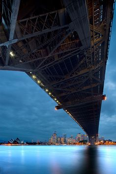 Under the Bridge, Sydney Harbour, Australia - why does this look as though the bridge is about to fall over?