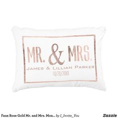 Faux Rose Gold Mr. and Mrs. Monogram Wedding Decorative Pillow
