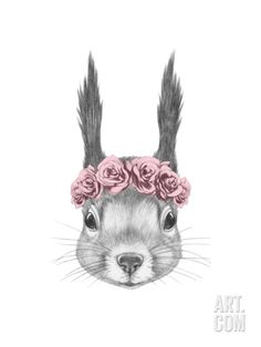 Portrait of Squirrel with Floral Head Wreath. Hand Drawn Illustration. Art Print by victoria_novak at Art.com