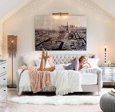 Starry String Light - Diamond Star Lights on Silver Wire ~ Girls Teen Bedroom