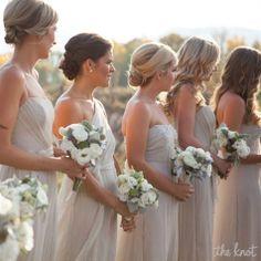 Champagne Colored Amsale Bridesmaid Gowns