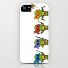 TMNT Chibis iPhone & iPod Case by Katie Simpson  - $35.00 Here are the four loveable Teenage Mutant Ninja Turtles! (TMNT) in chibi form. Leonardo has his Katanas, Donatello has a Bo Staff, Raphael has is sais and Michelangelo has his Nuchucks. Being a ninja is a very series matter but Mikey just can't help but crave a slice of New York City's Pizza!