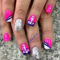 ⚓Pink and Blue Nautical Nails With Silver Anchors⚓