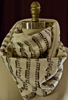 musical notes on a scarf.