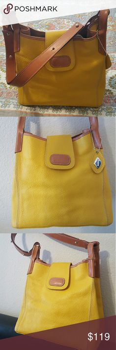 """""""I Santi"""" Genuine Italian Leather Bag Beautiful """"I Santi"""" Italian leather shoulder bag. Super cute yellow with camel adjustable strap. Very versatile and comfortable style. W10"""" x H9"""" x D6"""". Gently used...like new. No stains or rips inside or out. EUC I Santi Bags Shoulder Bags"""