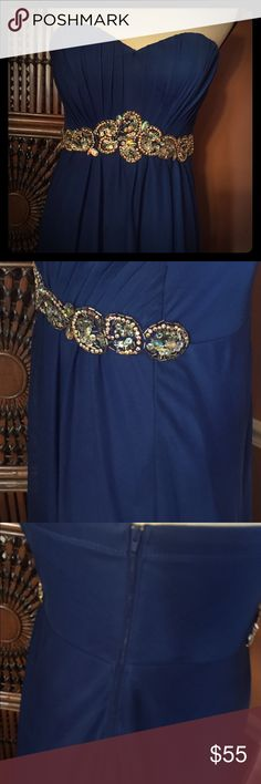 """Prom Dress  strapless sweetheart Royal Blue size 9 Prom girl back zipper has plates Jewel detailing length is 54 """"hollow to hem is 56 """" Social maid of honor wedding My Michelle Dresses Prom"""
