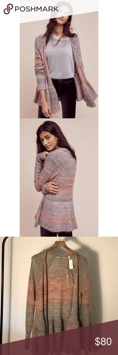 Anthropologie | Knitted & Knotted Cody Cardigan Brand new with tags!! Gorgeous pink and gray marbled sweater with an adorable peplum flare. Handmade from Italian yarns. This is a one of a kind piece, do not miss out! Anthropologie Sweaters Cardigans
