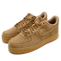 25fcb61c9cf4 Nike Air Force 1 07 WB Flax Wheat Brown Mens Shoes Sneakers AF1 AA4061-200