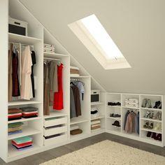 Ankleide - New Ideas Attic Bedroom Storage, Attic Bedroom Designs, Loft Storage, Room Ideas Bedroom, Closet Designs, Attic Wardrobe, Wardrobe Design Bedroom, Built In Wardrobe, Attic Master Bedroom