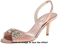 kate spade new york Women's Miva Dress Sandal Peep toe, sling back heel. Leather upper with crystal embellishment. Crystal bow adorns the vamp of the shoe. Slingback Shoes, Strappy Sandals Heels, Dress Sandals, Kate Spade Sandals, Wrap Heels, Leather Slip On Shoes, Me Too Shoes, Casual Shoes, Peep Toe