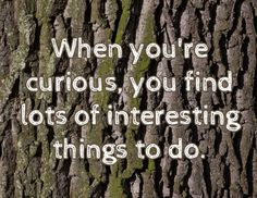 When you're curious, you find lots of interesting things to do
