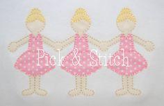 Ballerina Paper Doll Applique Design Machine by pickandstitch